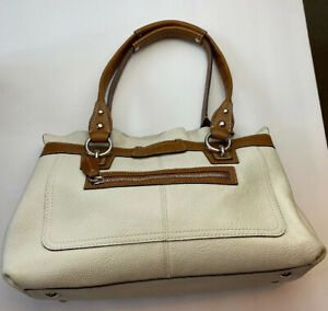 Coach-Penelope-Cream-Brown-Pebbled-Leather-Silver-Tote-Purse-Shoulder-Bag-f14686