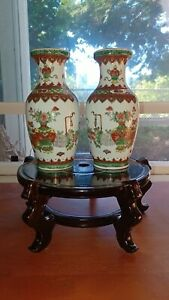 Vintage Chinese Jingdezhen Famille Rose Pair Of Vases