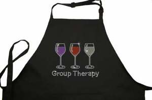 Rhinestone Embellished Black Apron with Group Therapy and 3 Drink Glasses