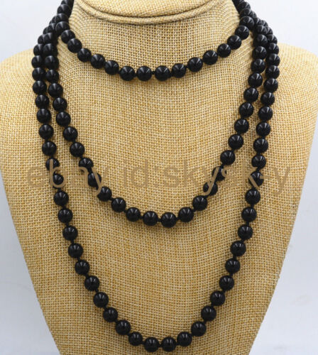 fashion 8 MM ROUND Black Onyx Gemstone Bead Necklace environ 127.00 cm AA 50 in