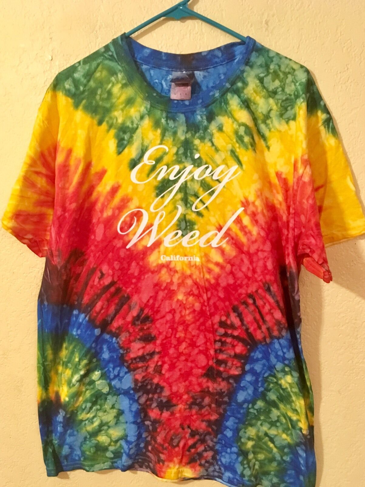 California Enjoy Weed Tie Dye T-Shirt Large Multi-color Vibrant Bright (5D)