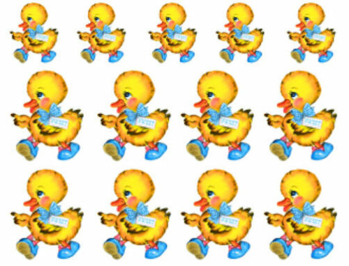 Vintage Image Retro Nursery Sweet Baby Yellow Duck Wateslide Decals AN753