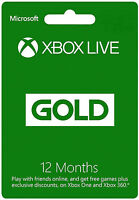 Microsoft Xbox Live 12 Month Gold Membership Card For Xbox 360 And Xbox One