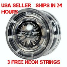 F.A.S.T. 201 YoYo Clear Black YoYo Factory Plus 3 Extra Neon Strings YEL/ORG/GRN
