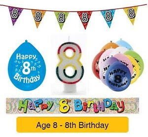 Image Is Loading AGE 8 Happy 8th Birthday Party Balloons Banners