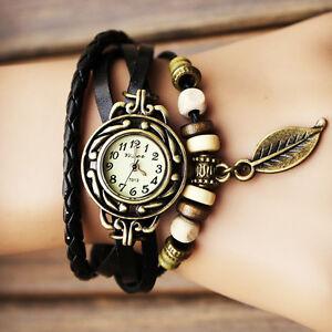 id e cadeau anniversaire petit prix montre femme ado noire retro bracelet perle ebay. Black Bedroom Furniture Sets. Home Design Ideas