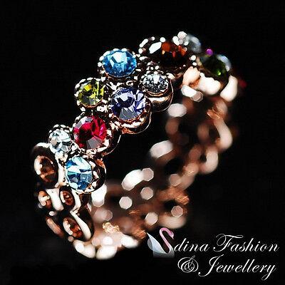 18K Rose Gold Plated Genuine Swarovski Crystals Multicoloured Garland Ring
