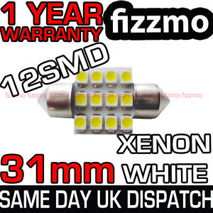 12-SMD-LED-269-30mm-31mm-WHITE-NUMBER-PLATE-INTERIOR-DOME-LIGHT-FESTOON-BULB