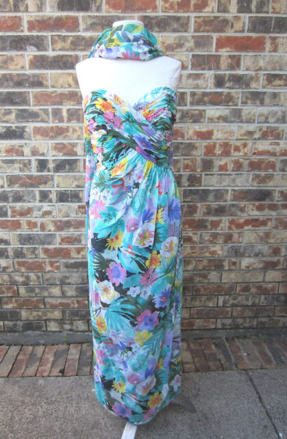 VINTAGE BEAUTIFUL VICTOR COSTA FLORAL MULTI COLOR WITH SCARF SIZE 4