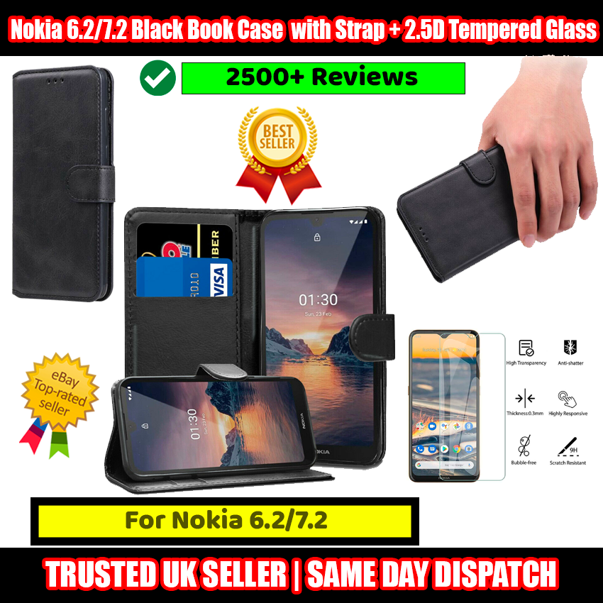Nokia 6.2/7.2 Black Book Case Flip with Strap + 2.5D Tempered Glass Protector