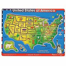 Melissa  Doug USA Map Sound Puzzle Wooden W Effects 40 Pcs  eBay