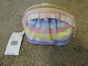 NEW-Betsey-Johnson-Cosmetic-Makeup-Bag-pink-ruffle-rainbow-striped-with-hearts