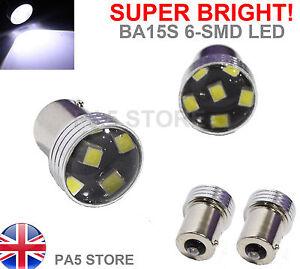 2x-BA15S-6-SMD-LED-2835-Xenon-White-SUPER-BRIGHT-Reverse-Tail-Signal-Bulbs-P21W