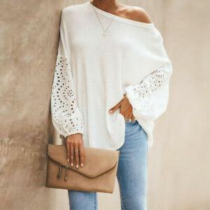 Women Casual Blouse One Shoulder Ladies Plain Batwing Long Sleeve Sweatshirt Top