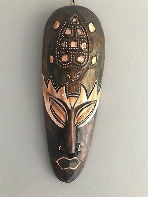 Déco murale ethnique Masque Africain ethnique motif chouette hibou 30 cm.