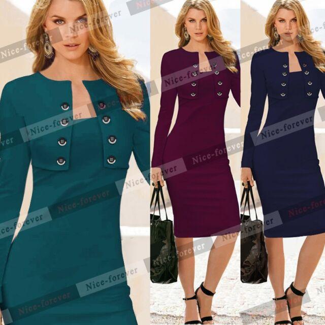 Women's Celeb Formal OL Square Neck Button Slim Bodycon Midi Pencil Dress B10