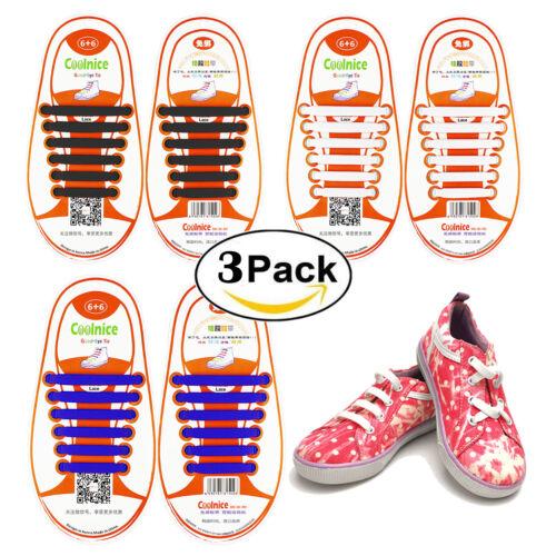 Coolnice Easy No Tie Shoelaces Elastic Shoe Laces 12pcs//set For Kids Children UK