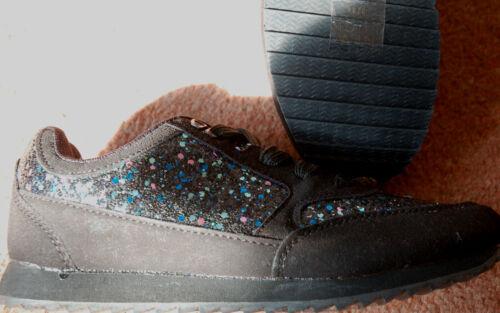 Nuovo ginnastica lacci e 3 da scarpe Sz con regalo per glitter nero sportivo scolastico rqCwr1