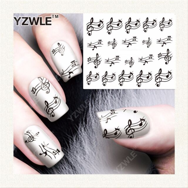 Nail Art Water Decals Stickers Black Sheet Music Musical Notes Piano