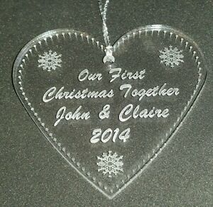 Personalised-engraved-acrylic-first-Christmas-heart-tree-decoration-bauble