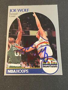 Joe Wolf Signed 1990-91 Hoops #412 Card Auto Denver Nuggets NBA Autograph COA