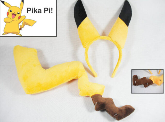 New Pokemon PIKACHU Ears and Tail Cosplay Fancy Dress Costume Headband Hair Band