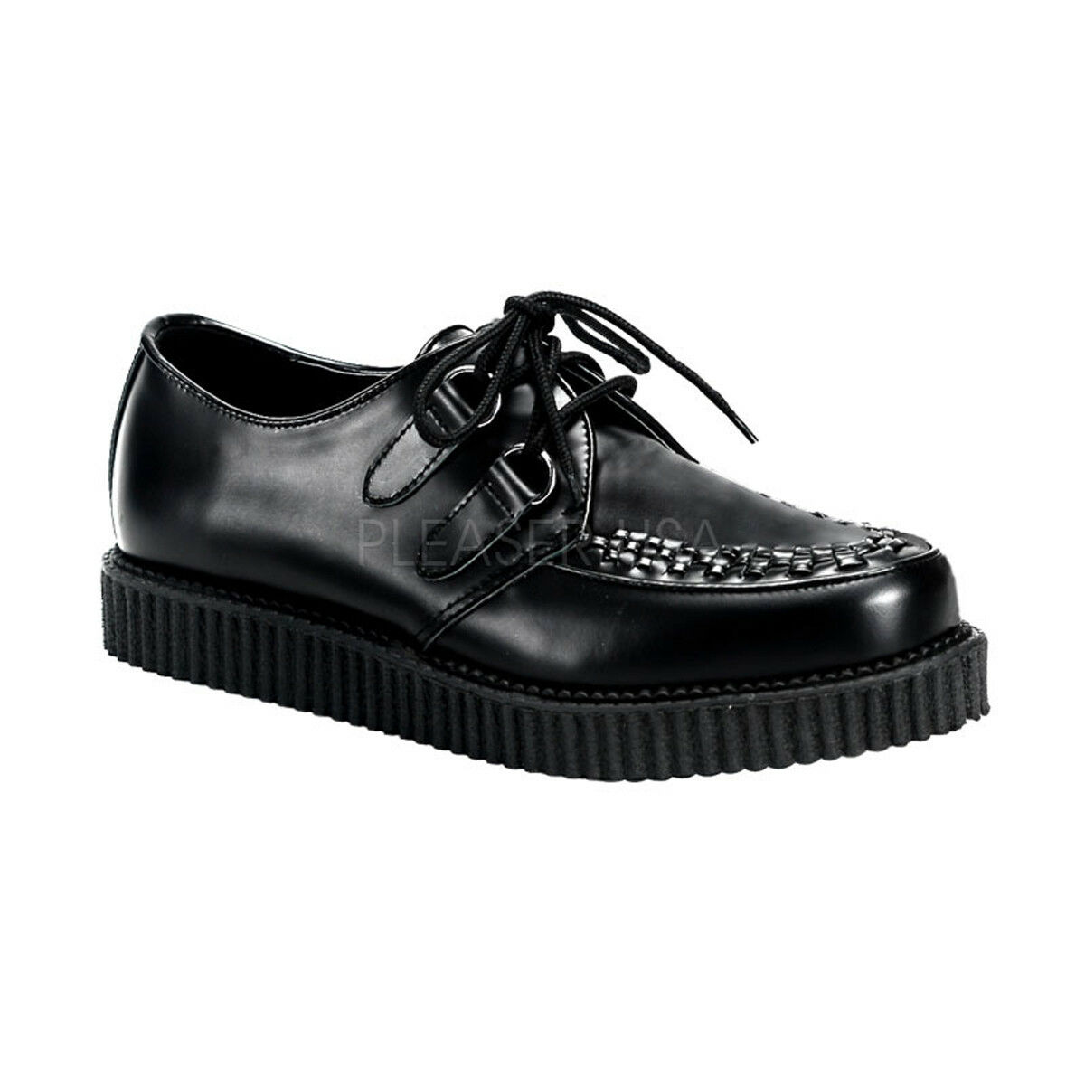Demonia CREEPER-602 Men's Black Leather Platform Gothic Rockabilly Punk Creepers
