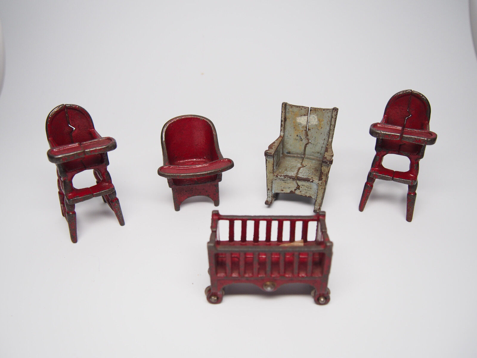 Vintage Cast Iron Doll House Furniture Lot of 5 Pieces ChairsCribHighchairs