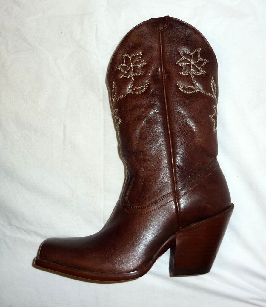 Star Boots W6011 Size 6.5B Womens Manchester Western Cowgirl Boots CHOCOLATE NEW
