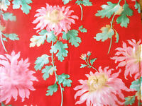 Antique 19thc Mum Floral Cotton Fabric ~ Red Pink Green ~ quilts projects unused