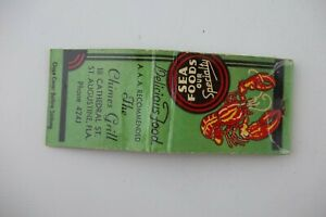 Vtg 1950s The Chimes Grill Seafood St Augustine Florida FL Complete Matchbook