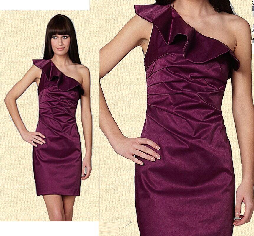 255 Laundry Shelli Segal Segal Segal One Shoulder Ruffle Ambrosia Stretch Satin Dress 0a234e