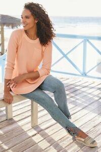 Soft-Surroundings-Straight-Leg-Touch-Of-Lace-Jeans-US-14-Light-Sandwashed-Denim