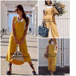 1dcca436fd3e Image is loading RARE-NWT-ZARA-SS18-MUSTARD-LINEN-CROPPED-JUMPSUIT-
