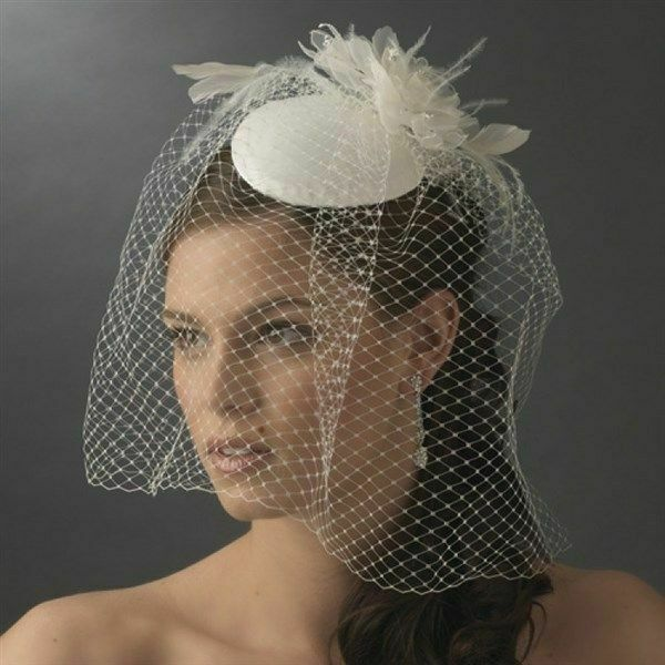 Vintage Bridal Hat with Bird Cage Face Veil and Flower Adornment Ivory