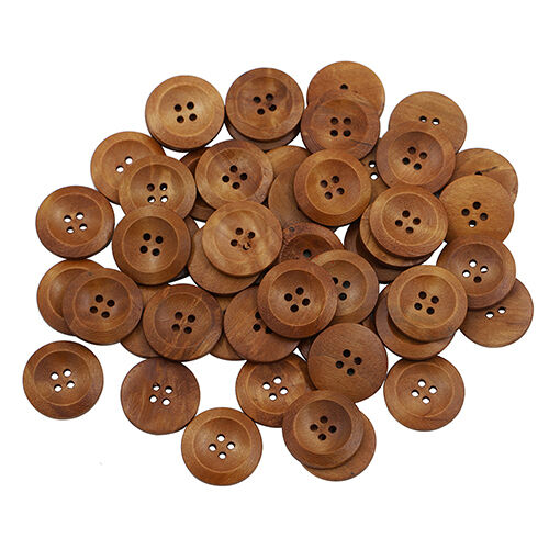 BU /_ 50 piezas de madera 4 Agujeros Redondos de Madera Coser Botones Scrapbooking hágalo usted mismo Craft 25mm