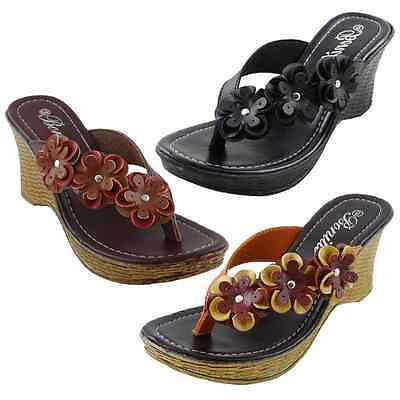 New Womens Sandals Wedge Shoes Heels Platform Flip Flops Thong Black,Brown,Multi