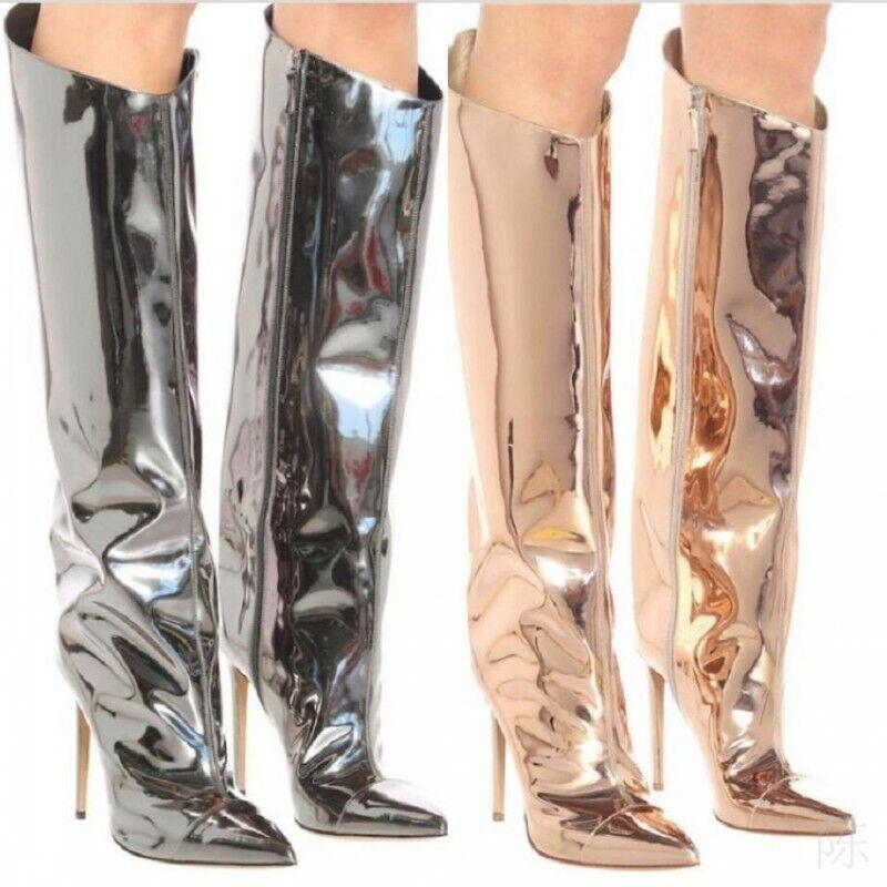 Luxus Gold Hochzeit Cosplay Stilettos High Heel Damen Kniehohe Stiefel Gr.34-43