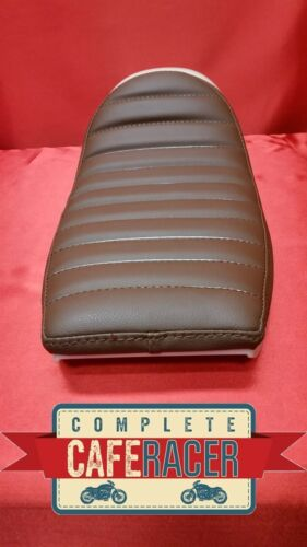 LS9 CAFE RACER ABS MOULDED SEAT UNIT WITH BOLT ON//OFF BROWN LEATHERETTE PAD