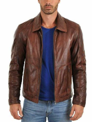Men/'s Lambskin Real Leather Jacket Biker Zipper Motorcycle Vintage Brown Collar