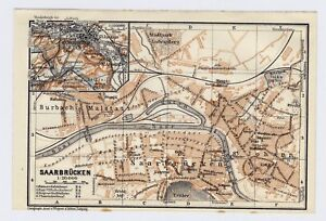 Saarbrucken Germany Map.1925 Original Vintage Map Of Saarbrucken Saarbruecken Saarland