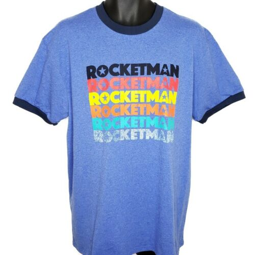 Rocketman 2019 T Shirt Movie Promo Retro Ringer Tee World Tour Elton John XL