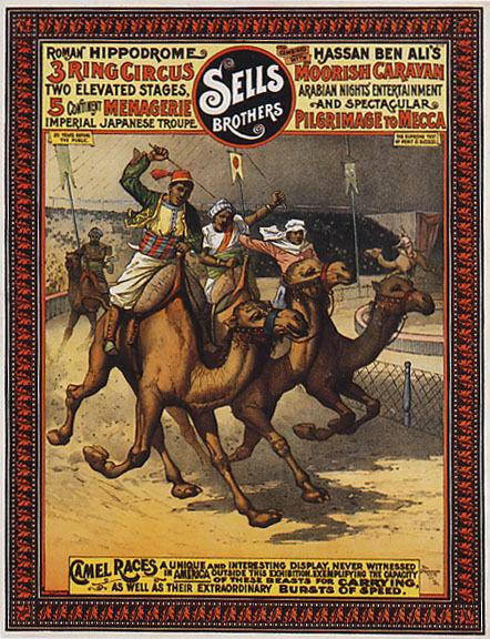 CAMEL RACE CIRCUS SHOW ARABIAN NIGHT'S ENTERTAINMENT VINTAGE POSTER REPRO