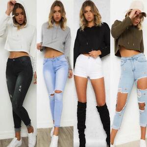 NEW-Ladies-Crop-Hoodie-Women-Pullover-Plain-Casual-Short-Hooded-Sweatshirt-Tops