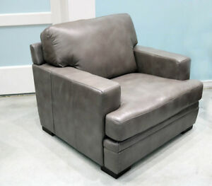 Brilliant Details About New Classic Modern Easy Chair In Pewter Gray Top Grain Leather Restoration Style Beatyapartments Chair Design Images Beatyapartmentscom