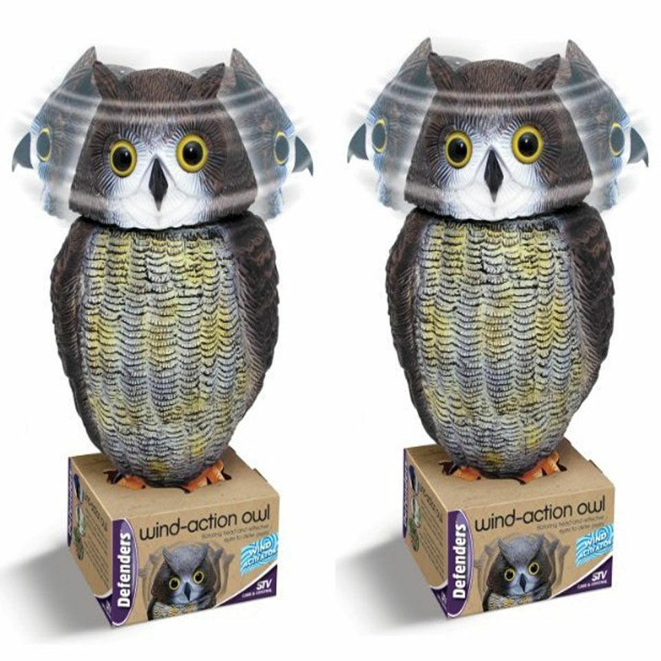 2 X los defensores de viento acción Owl Head Pájaro Ahuyentador plagas Ratones Repelente Disuade A Jardín