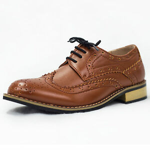 Image Is Loading Boys Brown Shoes Brogue Formal