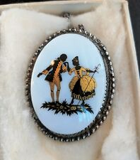 Vintage Victorian Gentleman and Lady Scene Romantic Cameo Pendant Necklace