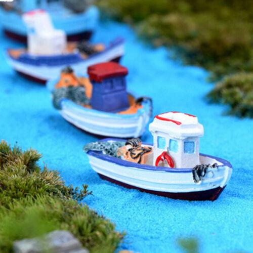 Miniature Mini Boat Model Fishing Ship Toy DIY Craft Home Tabletop Decor Gift