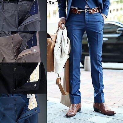 BytheR Men's Luxury Classic Exclusive Basic Solid Slacks Pants P000BFLS